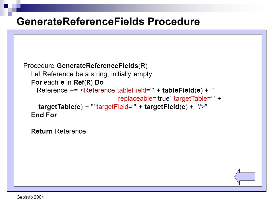 GeoInfo 2004 GenerateReferenceFields Procedure Procedure GenerateReferenceFields(R) Let Reference be a string, initially empty.