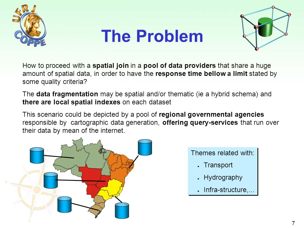 7 The Problem How to proceed with a spatial join in a pool of data providers that share a huge amount of spatial data, in order to have the response t
