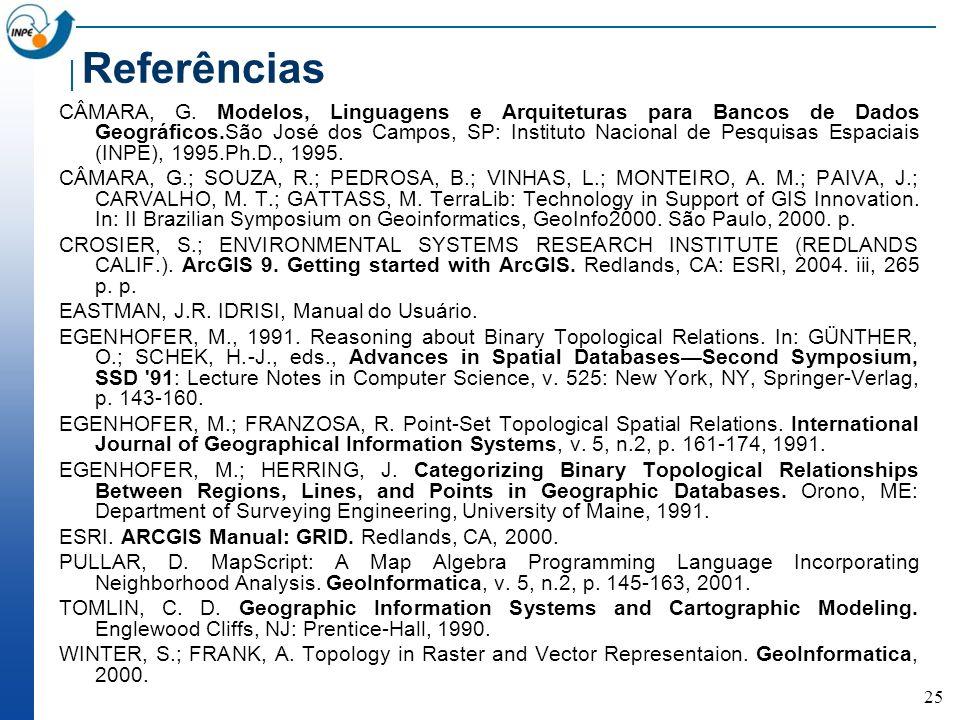 25 Referências CÂMARA, G.