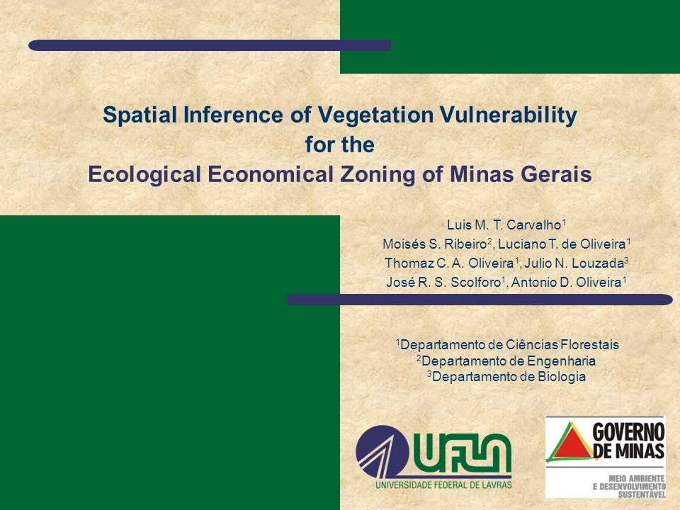 Spatial Inference of Vegetation Vulnerability for the Ecological Economical Zoning of Minas Gerais Luis M. T. Carvalho 1 Moisés S. Ribeiro 2, Luciano
