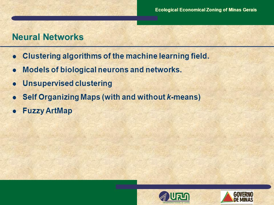 Ecological Economical Zoning of Minas Gerais Neural Networks Clustering algorithms of the machine learning field. Models of biological neurons and net