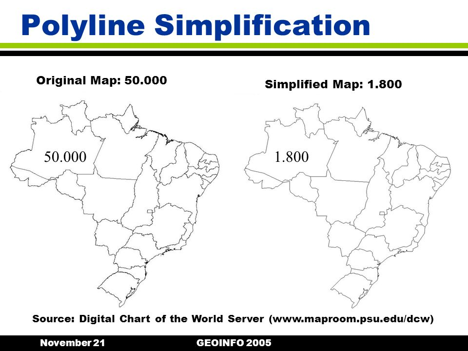 November 21GEOINFO 2005 Polyline Simplification Original Map: 50.000 50.0001.800 Simplified Map: 1.800 Source: Digital Chart of the World Server (www.