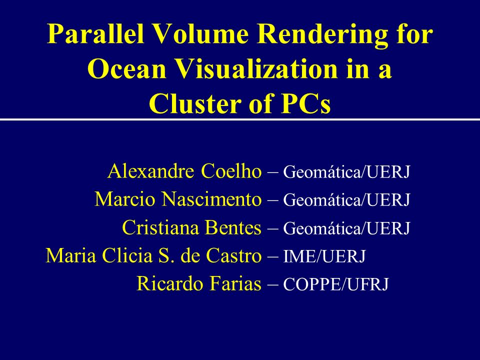 Our goal Allows Visualization of Ocean Inner Structure –Climate research –Offshore industries –Fishing and Mammal Management