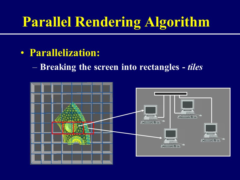 Parallel Rendering Algorithm Parallelization: –Breaking the screen into rectangles - tiles