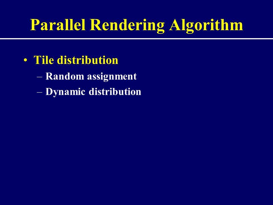 Parallel Rendering Algorithm Tile distribution –Random assignment –Dynamic distribution