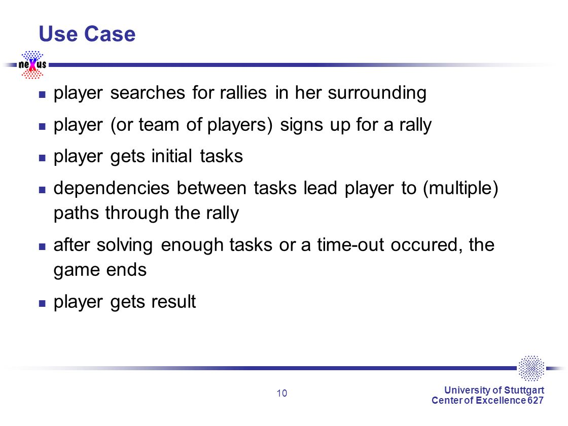 University of Stuttgart Center of Excellence 627 10 Use Case player searches for rallies in her surrounding player (or team of players) signs up for a rally player gets initial tasks dependencies between tasks lead player to (multiple) paths through the rally after solving enough tasks or a time-out occured, the game ends player gets result