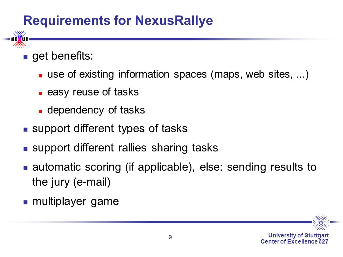 University of Stuttgart Center of Excellence 627 9 Requirements for NexusRallye get benefits: use of existing information spaces (maps, web sites,...) easy reuse of tasks dependency of tasks support different types of tasks support different rallies sharing tasks automatic scoring (if applicable), else: sending results to the jury (e-mail) multiplayer game