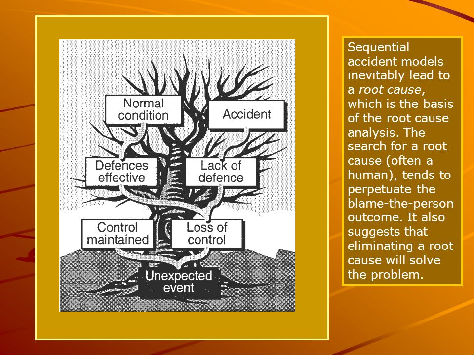 ASA Sequential accident models inevitably lead to a root cause, which is the basis of the root cause analysis. The search for a root cause (often a hu