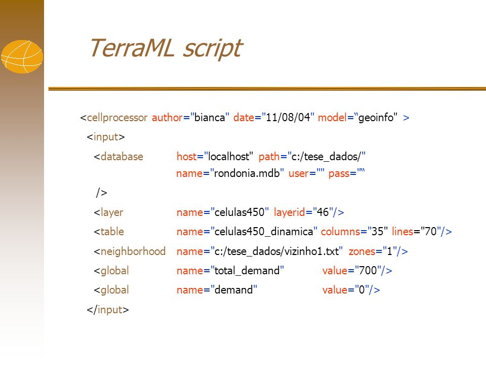 TerraML script <database host=