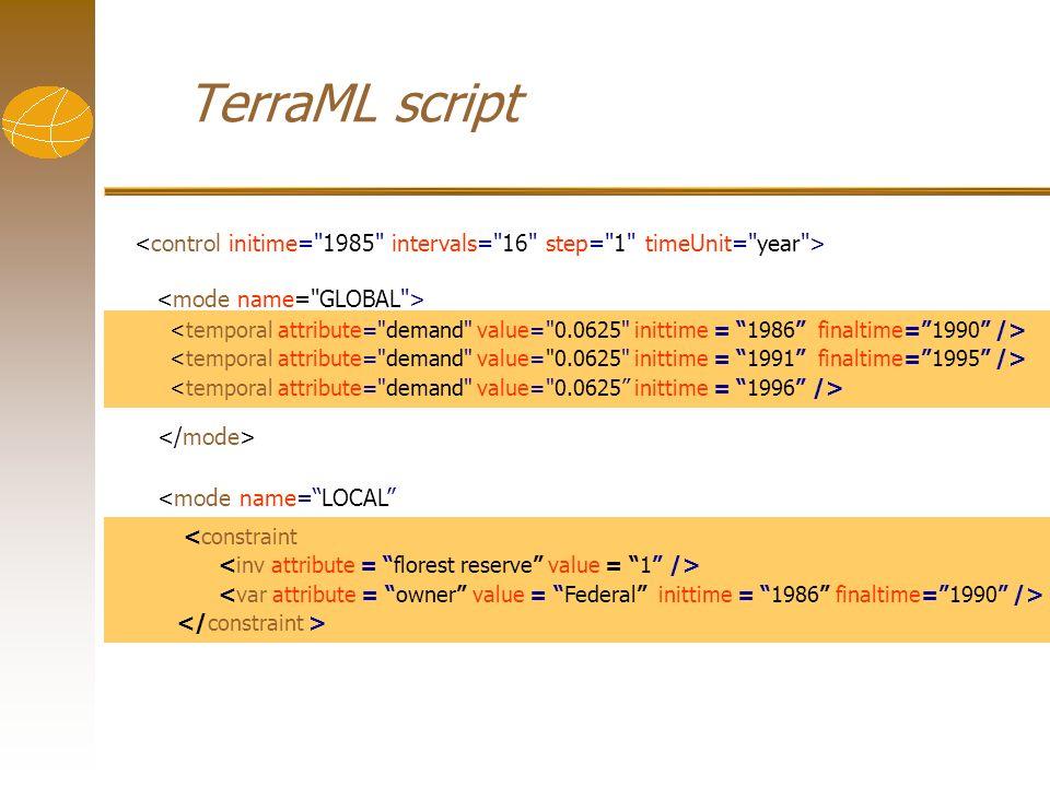 TerraML script <constraint <mode name=LOCAL