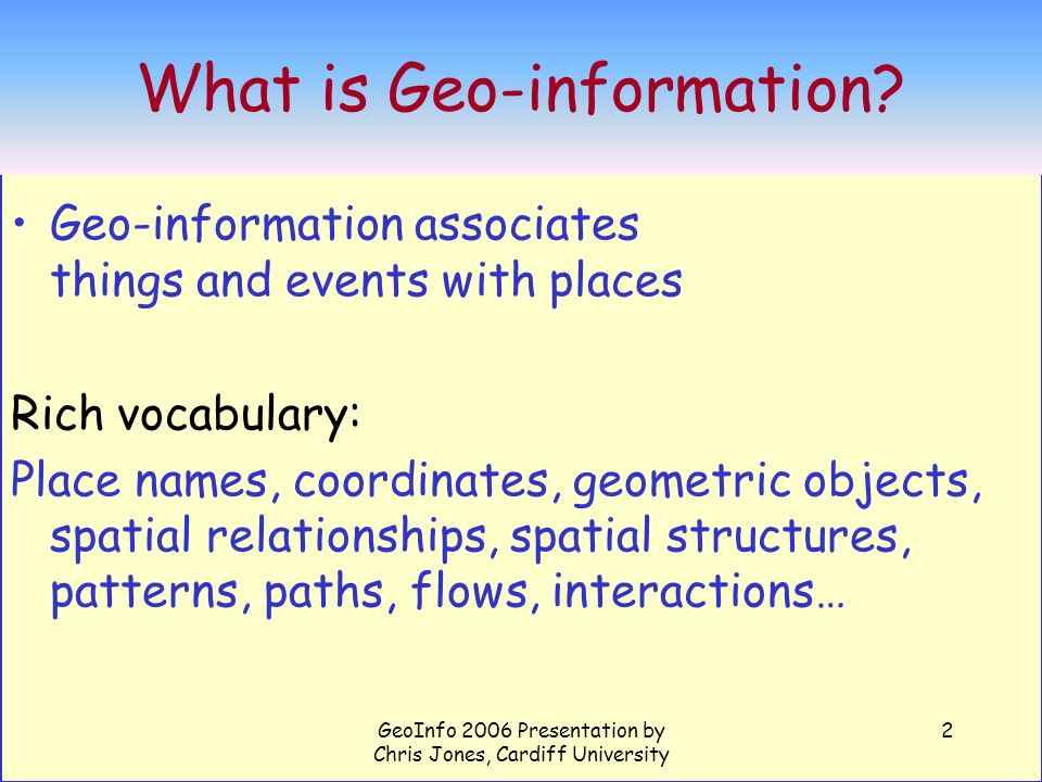 GeoInfo 2006 Presentation by Chris Jones, Cardiff University 33 Places mentioned in documents retrieved by queries on the Cotswolds Figure from Ross Purves et al University of Zurich
