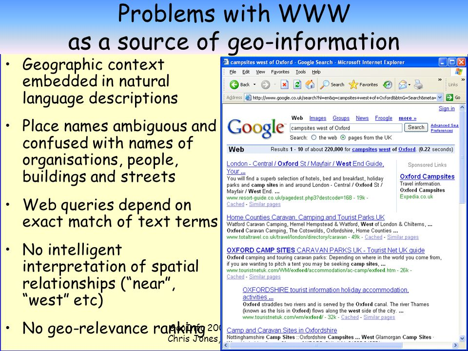 GeoInfo 2006 Presentation by Chris Jones, Cardiff University 5 Problems with WWW as a source of geo-information Geographic context embedded in natural