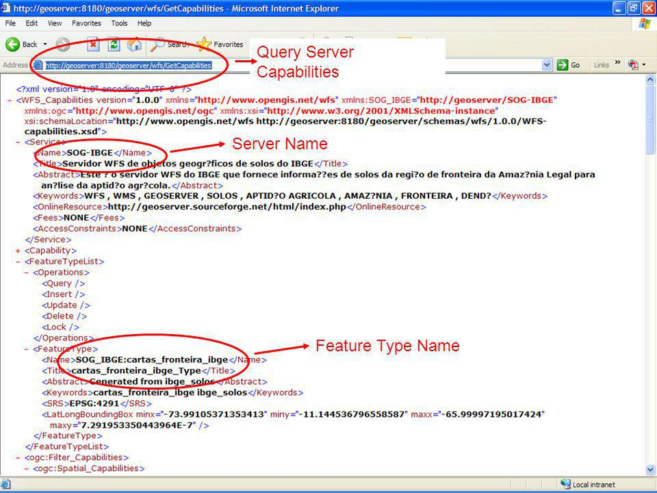 Query Server Capabilities Server Name Feature Type Name