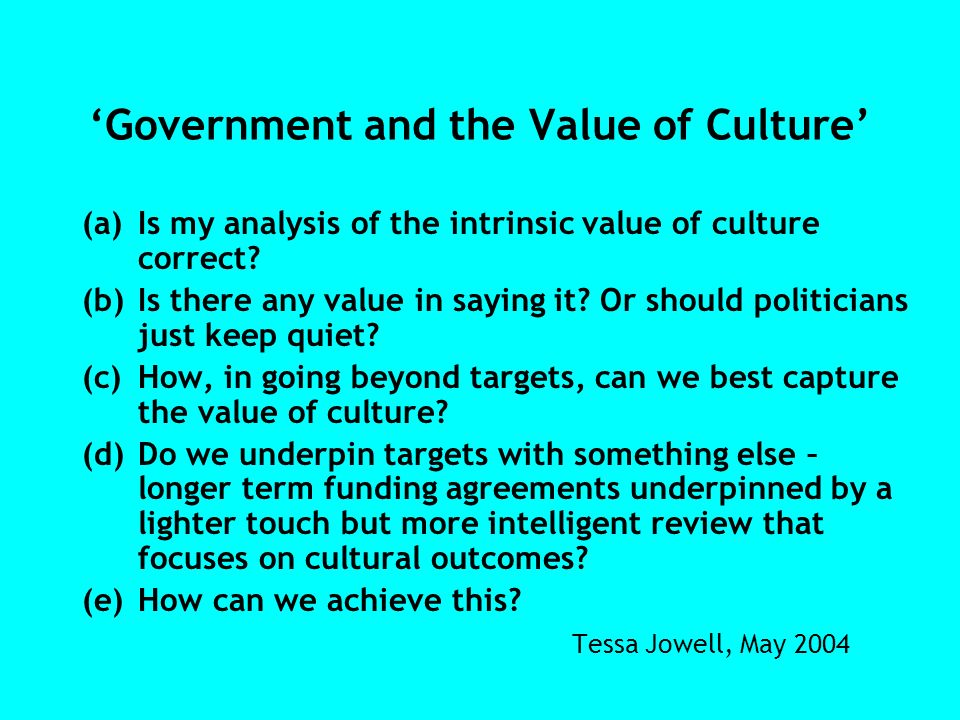 Government and the Value of Culture (a)Is my analysis of the intrinsic value of culture correct? (b)Is there any value in saying it? Or should politic