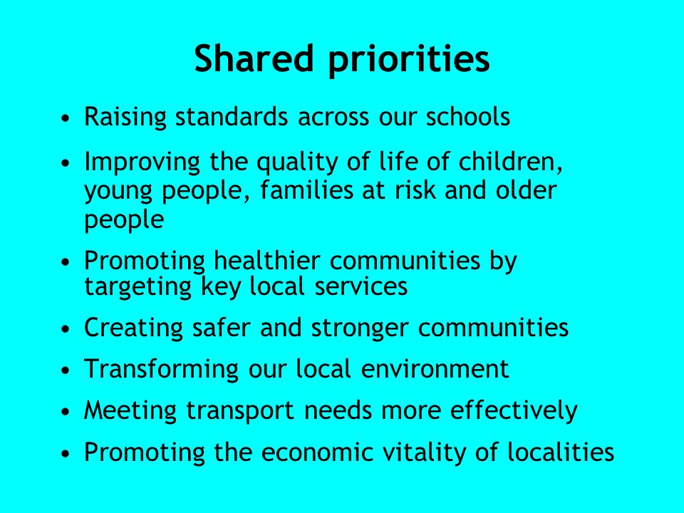 Shared priorities Raising standards across our schools Improving the quality of life of children, young people, families at risk and older people Promoting healthier communities by targeting key local services Creating safer and stronger communities Transforming our local environment Meeting transport needs more effectively Promoting the economic vitality of localities