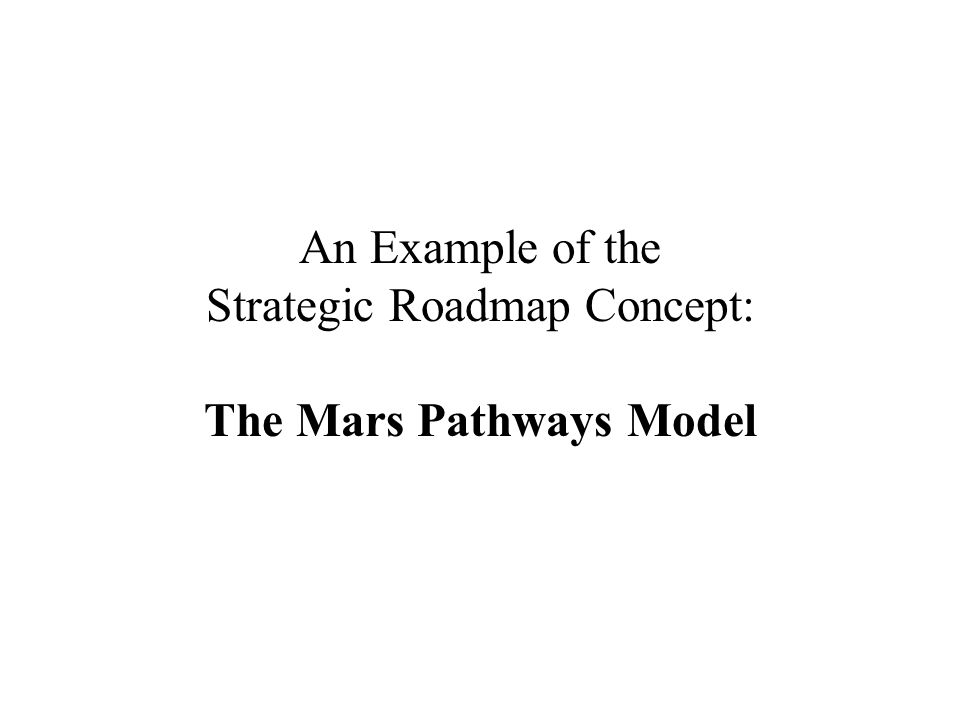 An Example of the Strategic Roadmap Concept: The Mars Pathways Model
