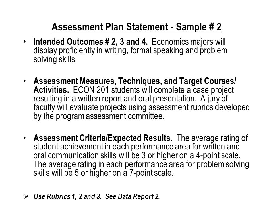 Assessment Plan Statement - Sample # 1 Intended Outcome # 1.