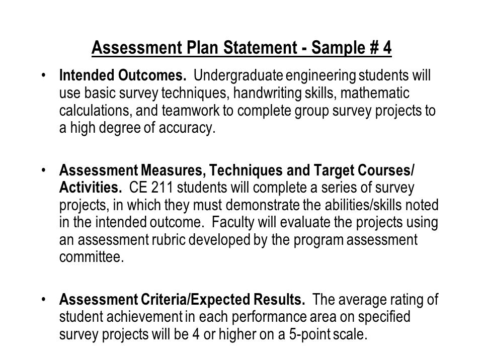 Assessment Plan Statement - Sample # 3 Intended Outcomes # 5, 6 and 7.