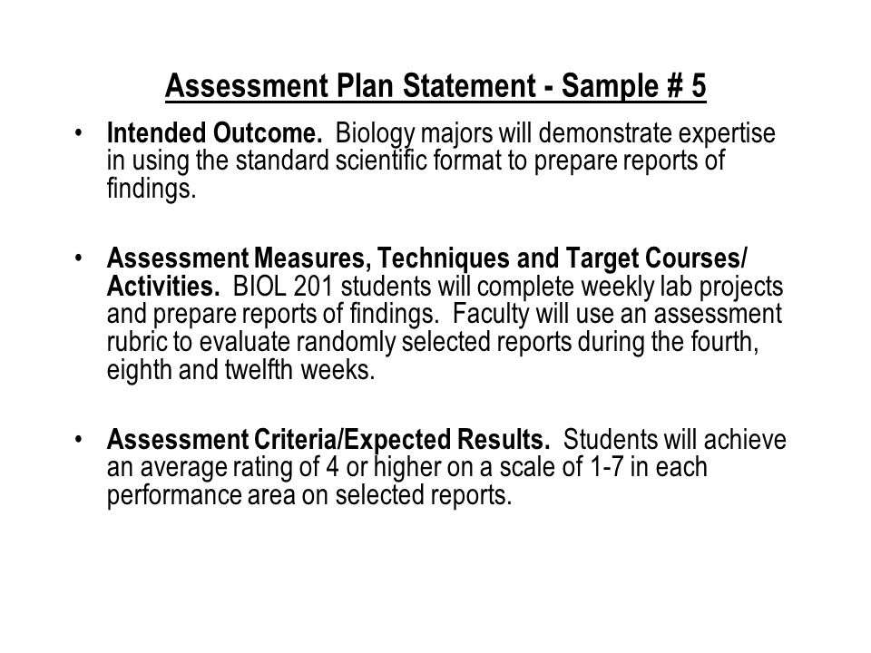 Assessment Plan Statement - Sample # 4 Intended Outcomes.