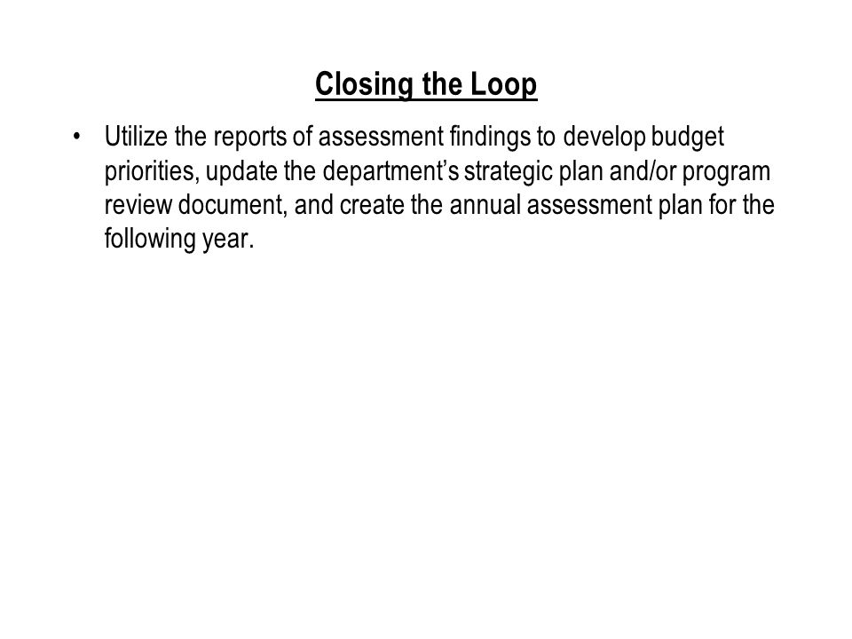Assessment Plan Statement - Sample # 5 Intended Outcome.
