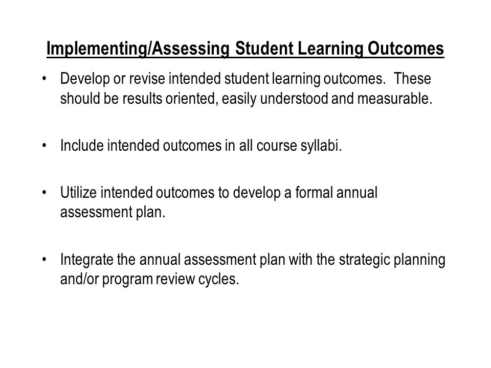 Embedding Assessment of Student Learning Outcomes in Regularly Scheduled Assignments Dr.