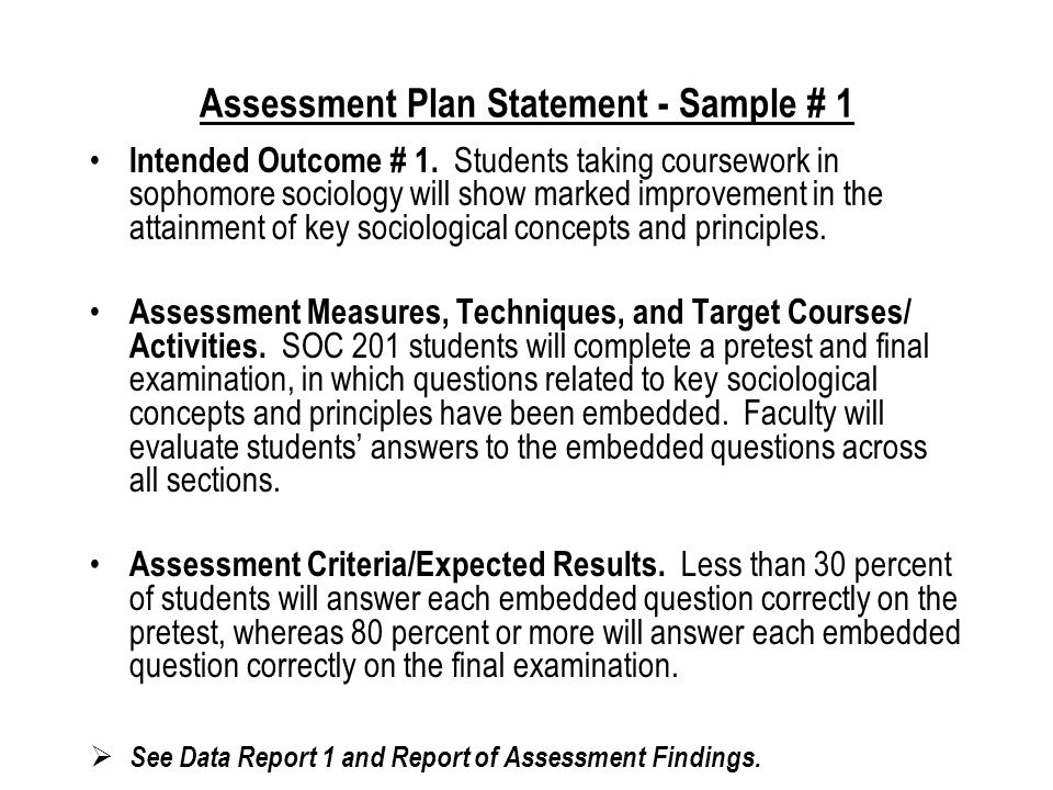 Reporting and Evaluating Assessment Findings Assessment Criteria/Performance Standards/Expected Results: Statement of Actual Results: Problems Encountered (if minimum standards were not met): Action Taken (such as curricular changes or improvements)/ Recommendations for Further Action: Complete this form for each assessment criteria statement.