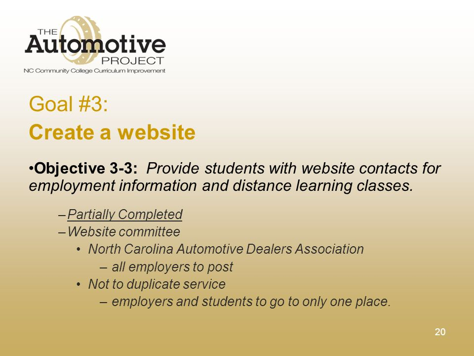 20 Goal #3: Create a website Objective 3-3: Provide students with website contacts for employment information and distance learning classes.