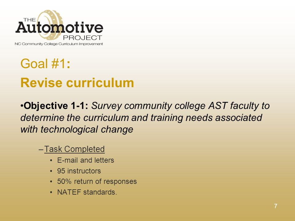 7 Goal #1: Revise curriculum Objective 1-1: Survey community college AST faculty to determine the curriculum and training needs associated with technological change –Task Completed E-mail and letters 95 instructors 50% return of responses NATEF standards.