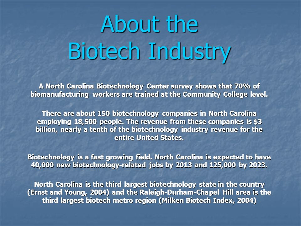 About the Biotech Industry A North Carolina Biotechnology Center survey shows that 70% of biomanufacturing workers are trained at the Community Colleg