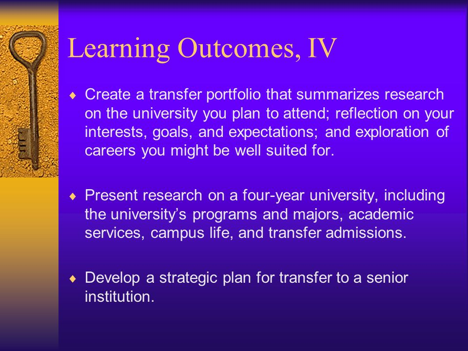 Learning Outcomes, IV Create a transfer portfolio that summarizes research on the university you plan to attend; reflection on your interests, goals, and expectations; and exploration of careers you might be well suited for.