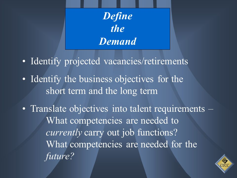 Define the Demand Identify projected vacancies/retirements Identify the business objectives for the short term and the long term Translate objectives into talent requirements – What competencies are needed to currently carry out job functions.