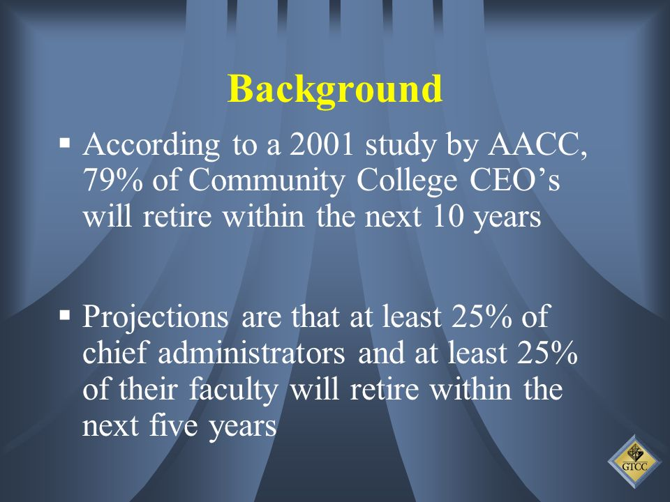 Background According to a 2001 study by AACC, 79% of Community College CEOs will retire within the next 10 years Projections are that at least 25% of chief administrators and at least 25% of their faculty will retire within the next five years