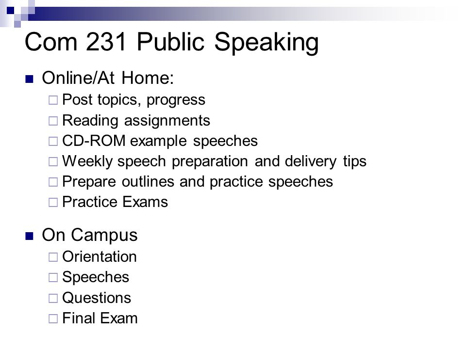 Com 231 Public Speaking Online/At Home: Post topics, progress Reading assignments CD-ROM example speeches Weekly speech preparation and delivery tips