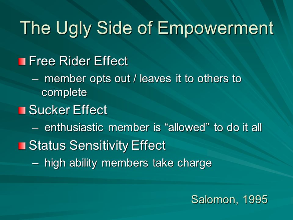 The Ugly Side of Empowerment Free Rider Effect – member opts out / leaves it to others to complete Sucker Effect – enthusiastic member is allowed to d