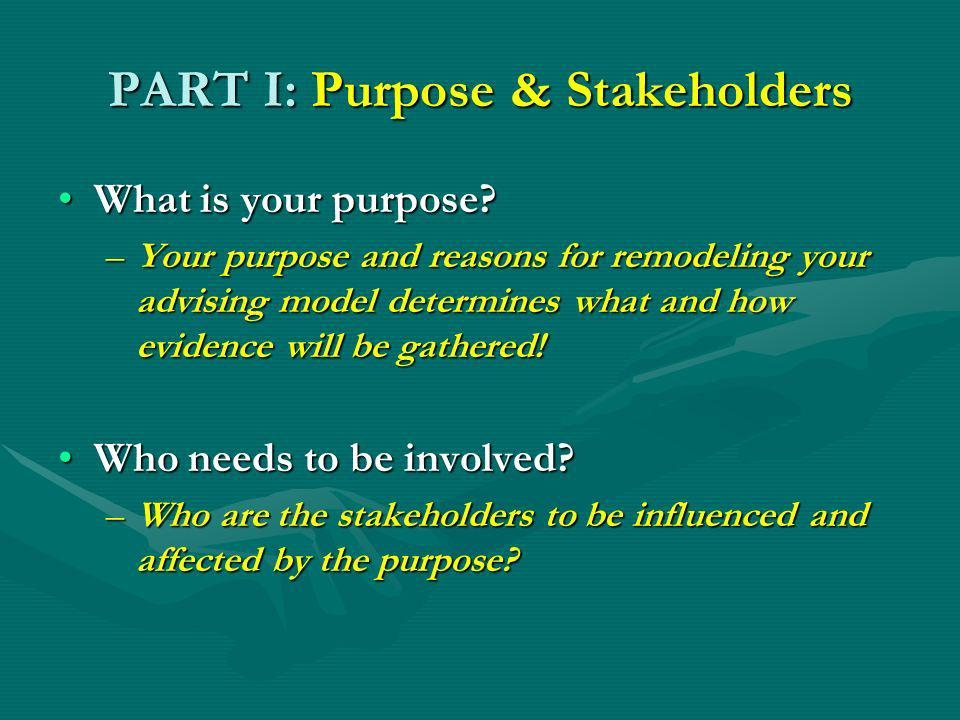 PART I: Purpose & Stakeholders What is your purpose What is your purpose.