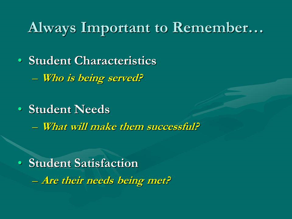 Always Important to Remember… Student CharacteristicsStudent Characteristics –Who is being served.
