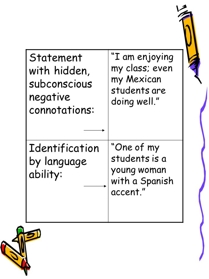 Statement with hidden, subconscious negative connotations: I am enjoying my class; even my Mexican students are doing well.