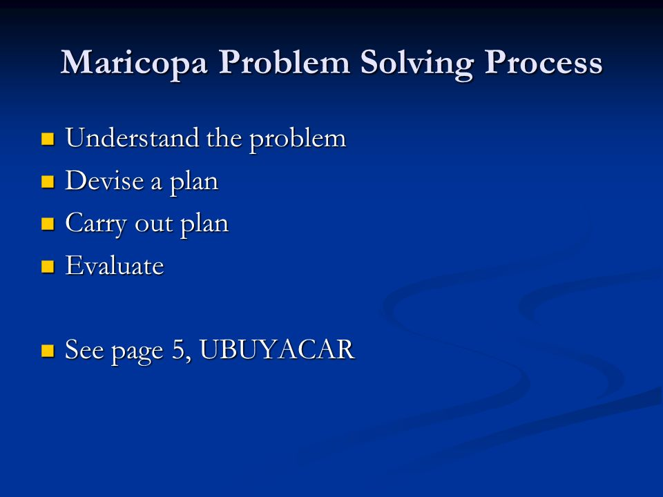 Maricopa Problem Solving Process Understand the problem Understand the problem Devise a plan Devise a plan Carry out plan Carry out plan Evaluate Evaluate See page 5, UBUYACAR See page 5, UBUYACAR