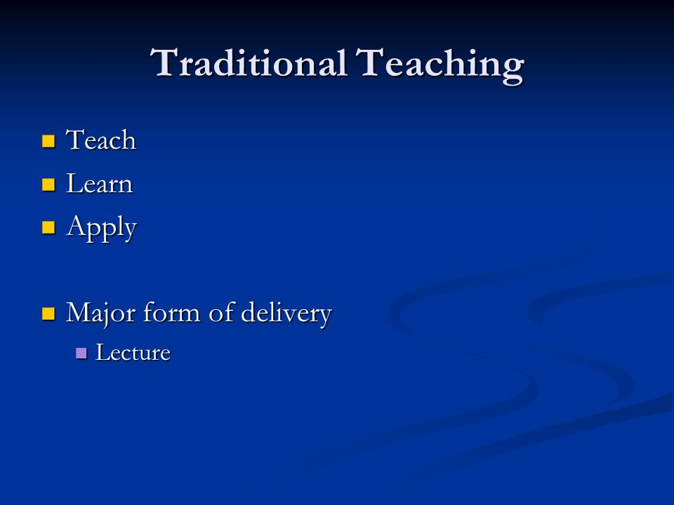 Traditional Teaching Teach Teach Learn Learn Apply Apply Major form of delivery Major form of delivery Lecture Lecture