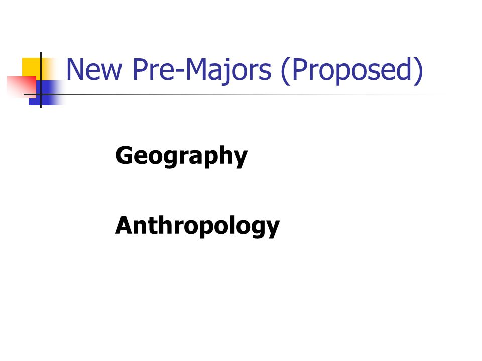 New Pre-Majors (Proposed) Geography Anthropology