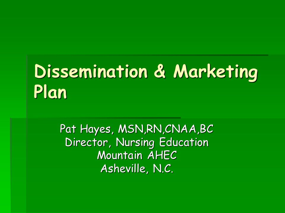 Dissemination & Marketing Plan Pat Hayes, MSN,RN,CNAA,BC Director, Nursing Education Mountain AHEC Asheville, N.C.
