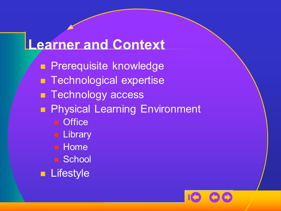 Learner and Context Prerequisite knowledge Technological expertise Technology access Physical Learning Environment Office Library Home School Lifestyle