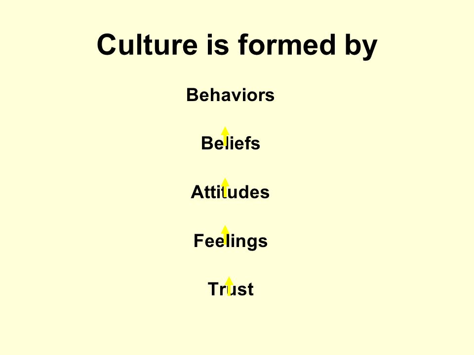 Culture is formed by Behaviors Beliefs Attitudes Feelings Trust