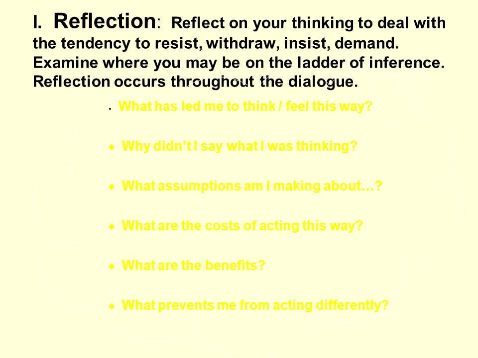 I. Reflection : Reflect on your thinking to deal with the tendency to resist, withdraw, insist, demand. Examine where you may be on the ladder of infe