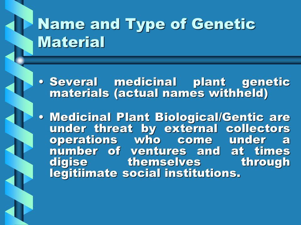 Name and Type of Genetic Material Several medicinal plant genetic materials (actual names withheld)Several medicinal plant genetic materials (actual n
