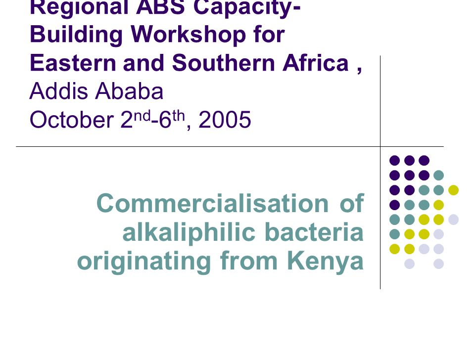 Regional ABS Capacity- Building Workshop for Eastern and Southern Africa, Addis Ababa October 2 nd -6 th, 2005 Commercialisation of alkaliphilic bacteria originating from Kenya