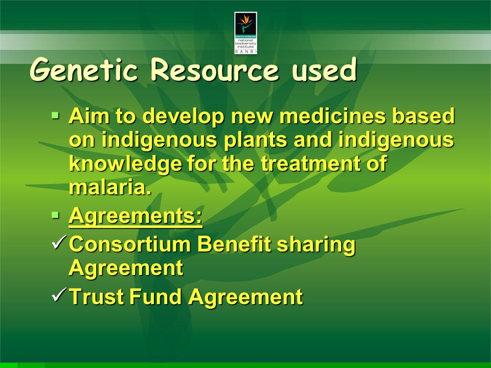 Agreed benefits Multidisciplinary scientific activity Multidisciplinary scientific activity Capacity building Capacity building Technology transfer Technology transfer Development of affordable Development of affordable anti-malaria drugs Cultivation and agroprocessing Cultivation and agroprocessing Develop a technology platform for SA Develop a technology platform for SA with the elements of the value chain for drug discovery.