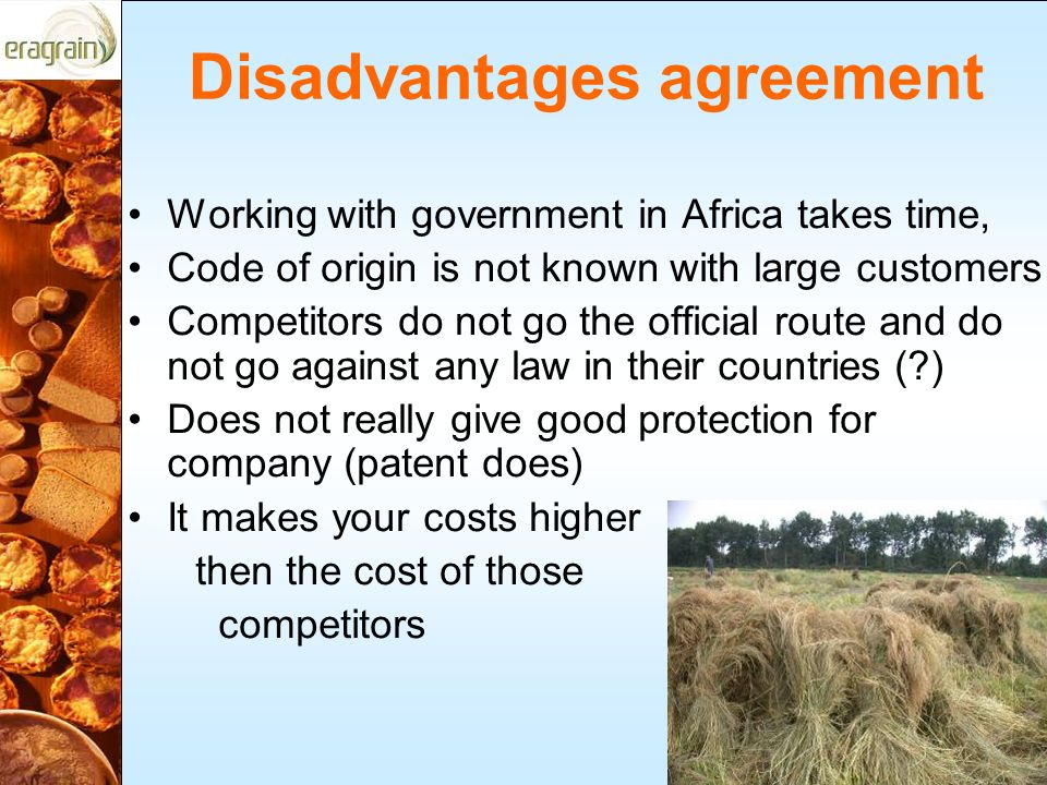 Disadvantages agreement Working with government in Africa takes time, Code of origin is not known with large customers Competitors do not go the official route and do not go against any law in their countries (?) Does not really give good protection for company (patent does) It makes your costs higher then the cost of those competitors