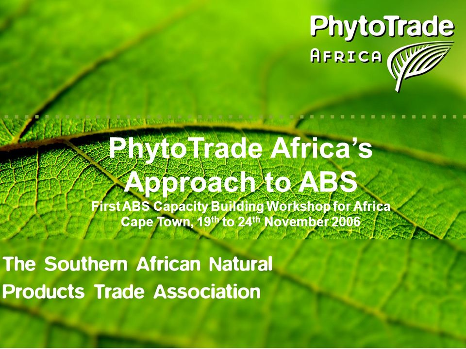 Southern African Natural Products Trade Association Launched in 2001 Currently 60 members drawn from Botswana, Malawi, Mozambique, Namibia, South Africa, Swaziland, Zambia and Zimbabwe Small producer groups, private companies, NGOs, research and government institutions, individuals