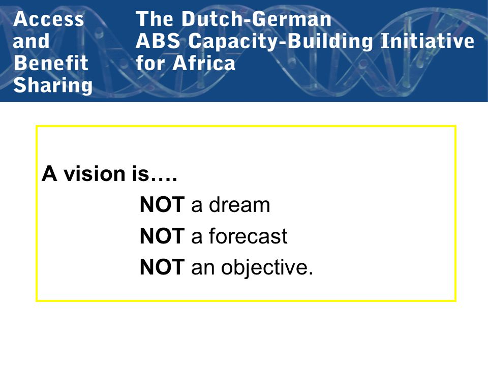 A vision is…. NOT a dream NOT a forecast NOT an objective.